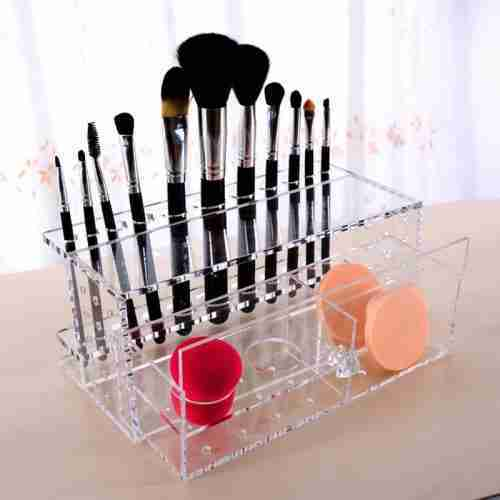 Clear Acrylic Makeup Brush Organizer Storage