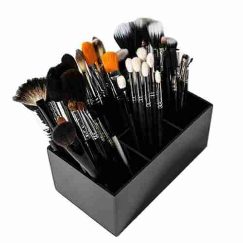 Black Makeup And Brush Organizer Stand