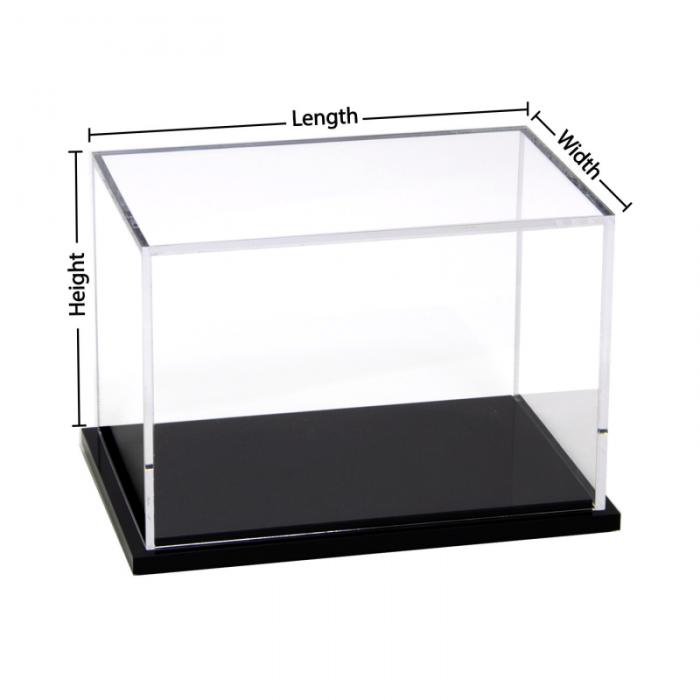 Custom size acrylic display box with black base