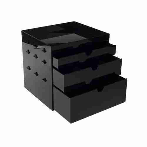 Custom black acrylic makeup organizer 4 Drawer