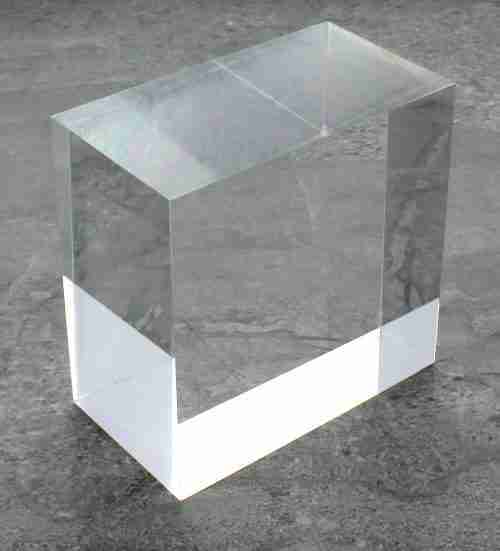 "Solid Clear Acrylic Block - 2"" X 3"" X 3"""
