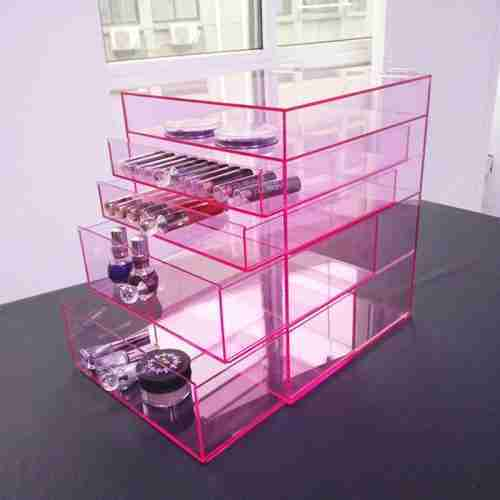 Pink 5 Drawers Acrylic Cosmetic Organizer Wholesale