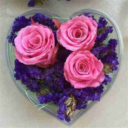 Heart Shape Clear Acrylic Rose Flower Display Box