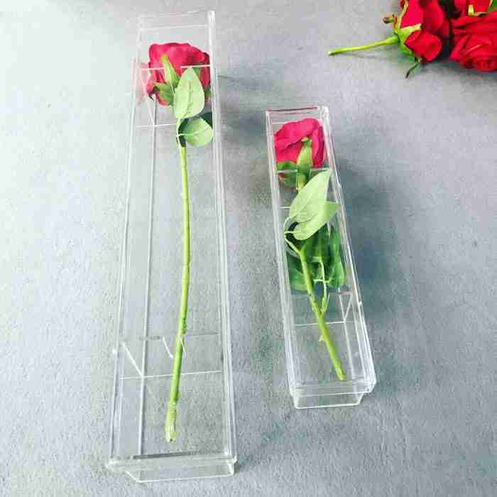 Waterproof Clear Acrylic Flower Box For Rose With Long Stem