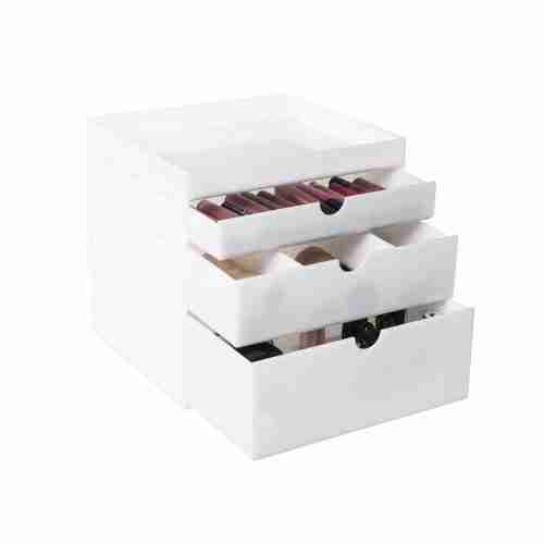 White makeup organizer with drawers