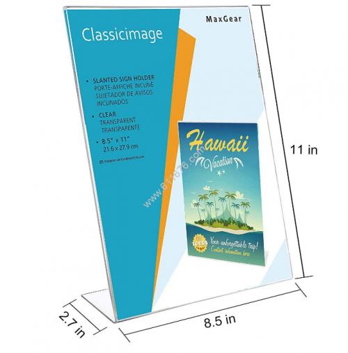 8.5x11 slant back economy plastic sign holder