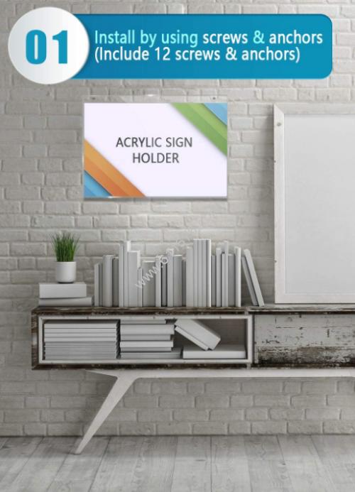 Acrylic sign holders wall mount