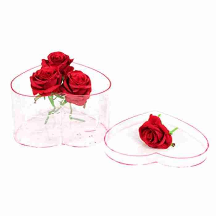 Custom Heart Shape Acrylic Flower Display