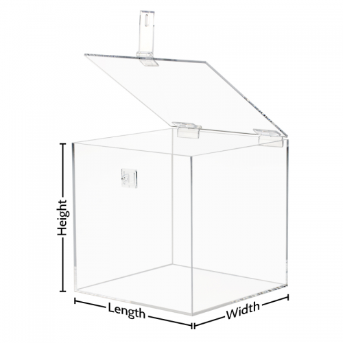 Clear Acrylic Box with Hasp Lock Hinged Lid
