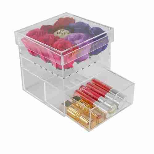 wholesale custom cube crystal clear acrylic flowers box