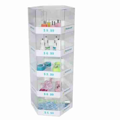 5 Tier Acrylic Mobile Phone Accessory Hexagon Counter Displa