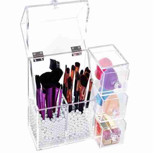 Acrylic brush holder with lid
