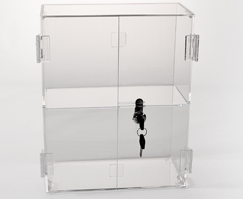Locking Display Case with Hinged Front Doors and 1 Shelf