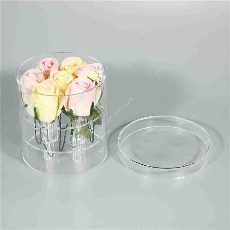 Custom 7 Roses Round Custom Acrylic Luxury Flower Box