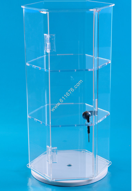 Locking Hexagonal Cases Optional Shelves & Rotat
