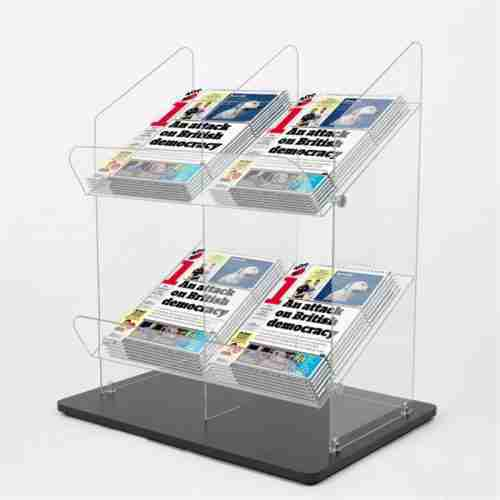 2 Tier Acrylic Magazine Display Holder PMMA Newspaper Displa