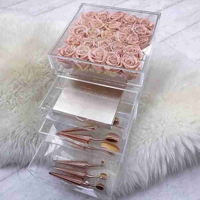 Acrylic Square Flower Box With 3 Drawers