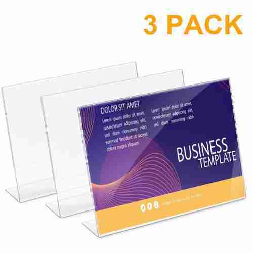 Acrylic Sign Holders in L Shape Clear Double Layers
