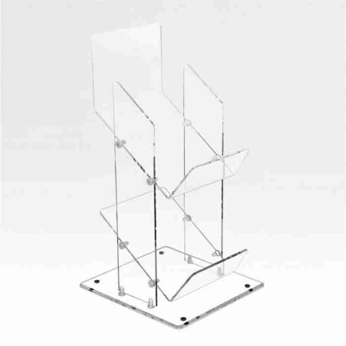 2 Tier Acrylic Floor Display Rack Lucite Newspaper Display S