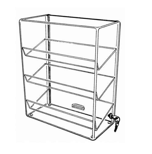 Retail Display Case with 3 Slanted Shelves