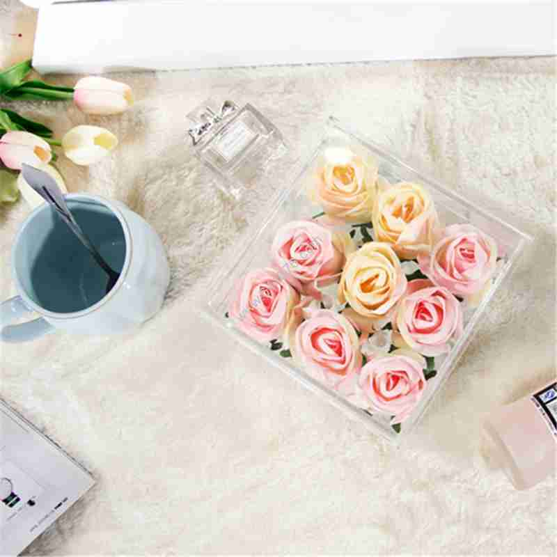 Chinese Factory Offer Clear Plexiglass 9 Holes Rose Box With