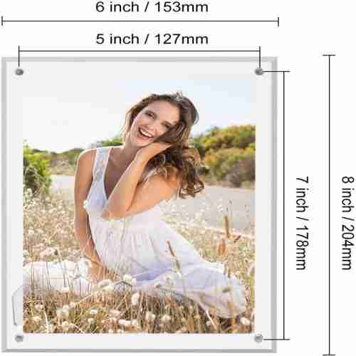 5x7 Tabletop Acrylic Clear Photo Frame With Magnets
