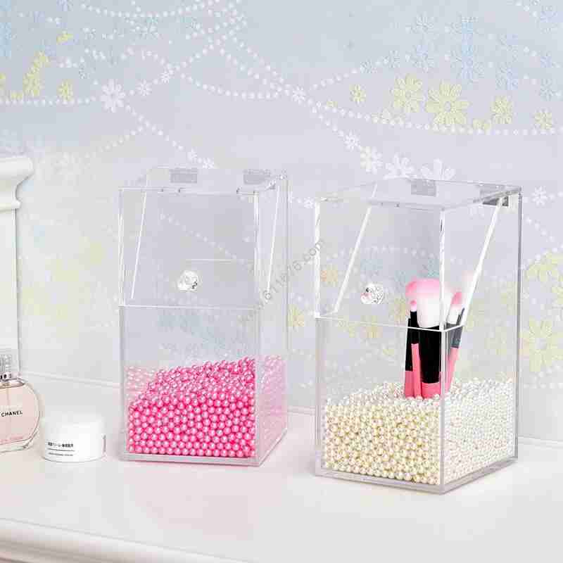 Acrylic Makeup Brush Holder With Flip Lid