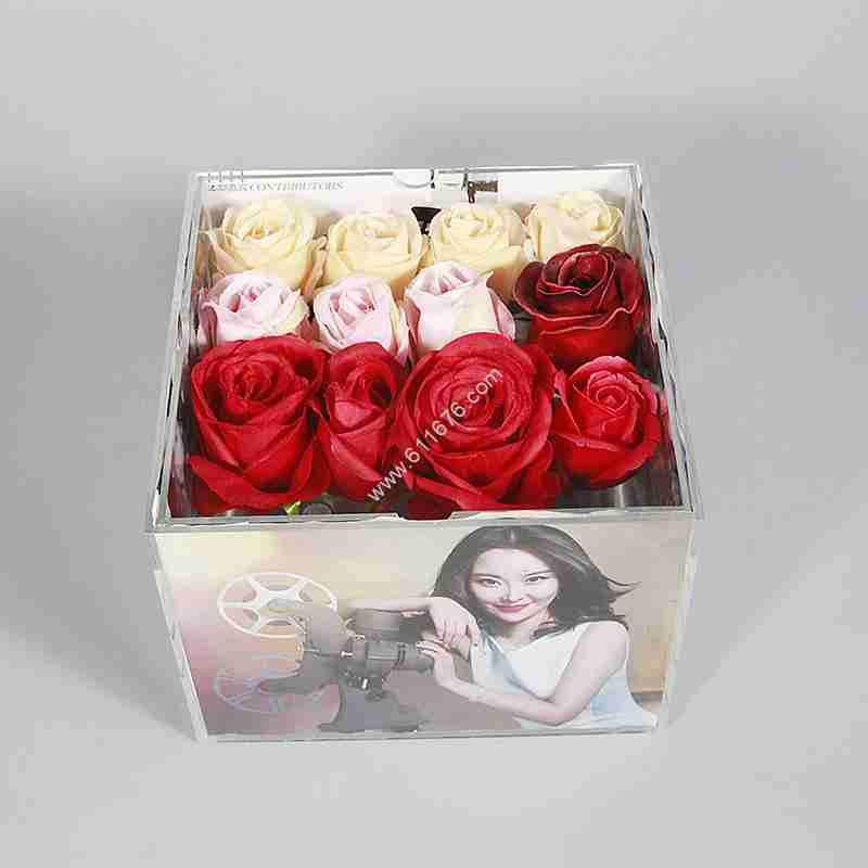 Custom Clear Acrylic Picture Frame Rose Box