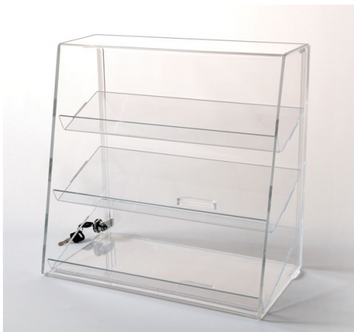 Acrylic Display Case with 3 Slanted Shelves