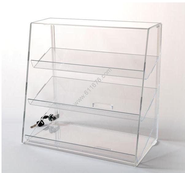 Acrylic Display Case with 3 Slanted Shelves
