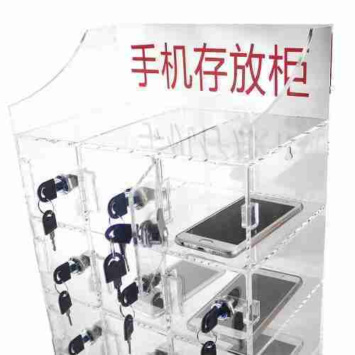 15 Slots Transparent Clear Acrylic Phone Storage Box Plexigl