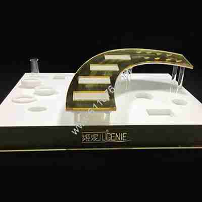 Acrylic golden cosmetics display stand