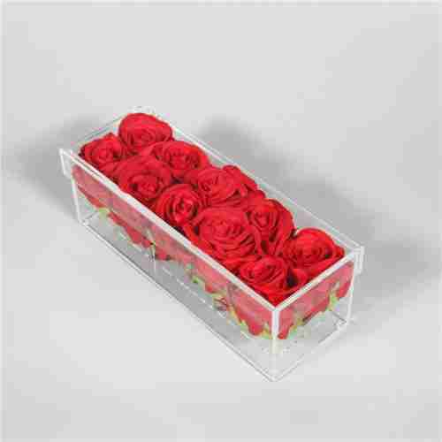 Custom Clear Rectangle Acrylic Rose Preserved Display Box