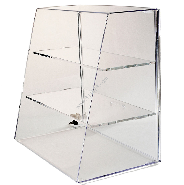 Slanted Front Display Case with Shelves