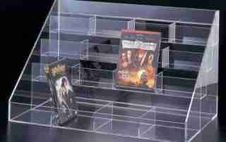 Why do cosmetics stores like to use acrylic display shelves?