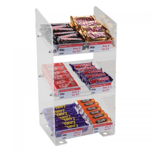 Three Tier Confectionery Acrylic Merchandising Display