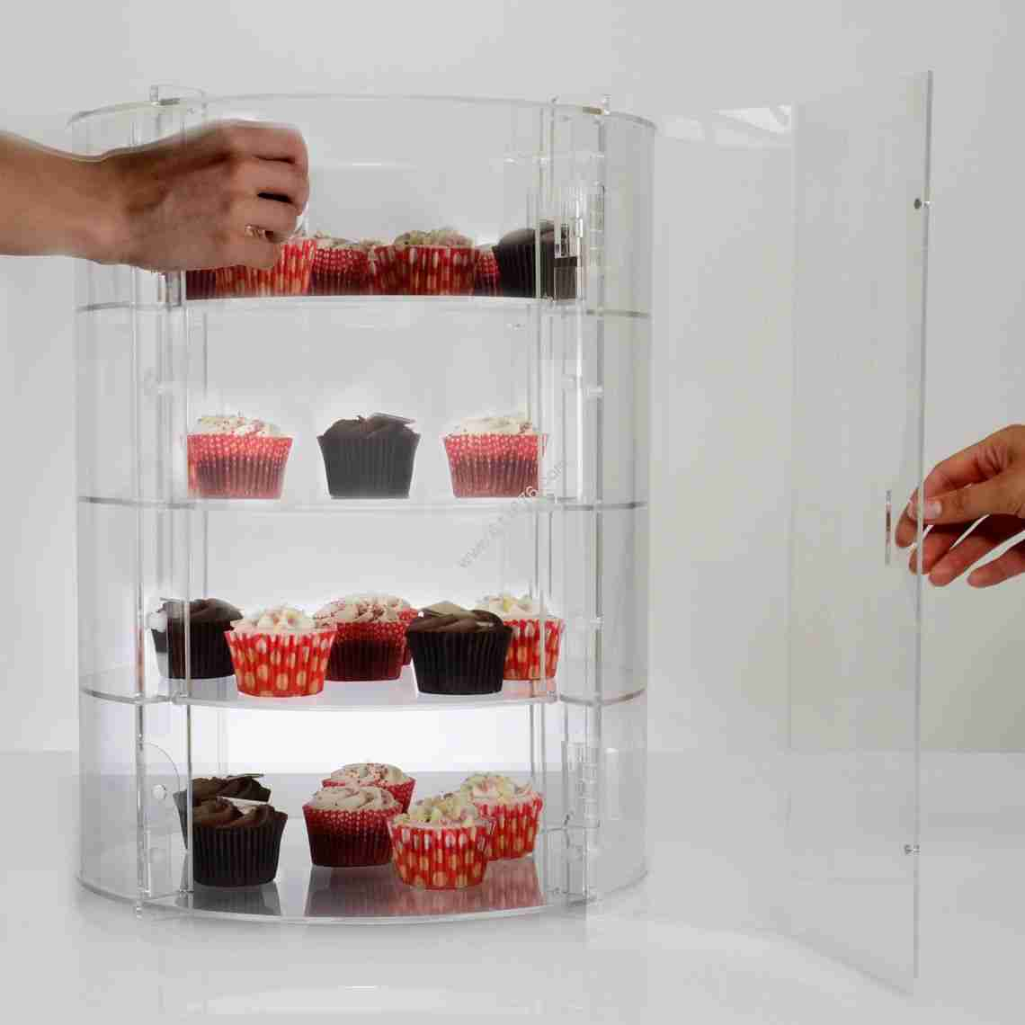 Acrylic Cupcake Storage Display Stand Food Display Cabinet