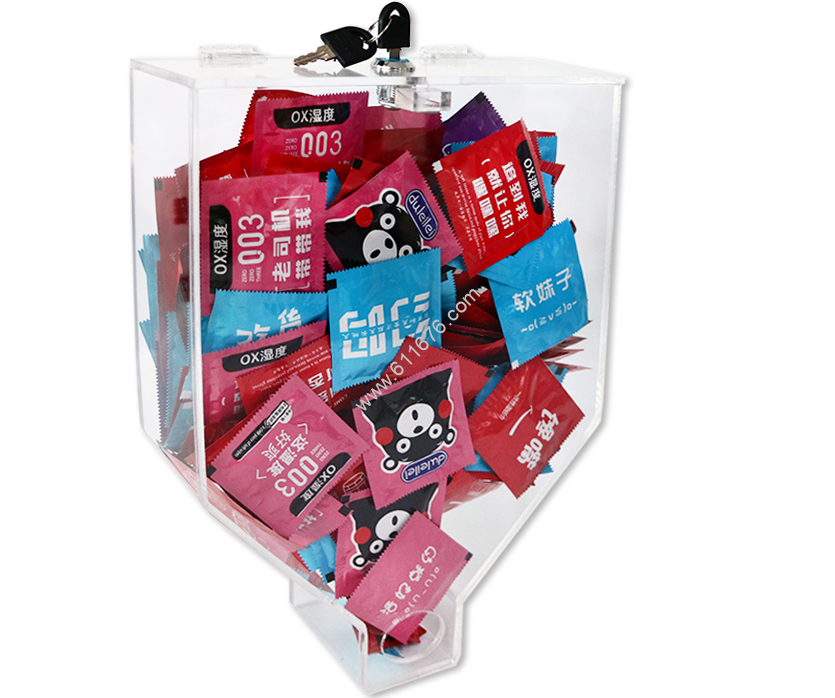 Factory Customized Acrylic Condom Dispenser With Lock