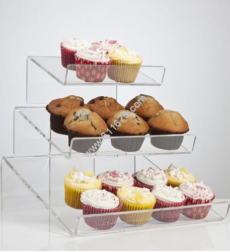 3 Steps Angled Tiered Acrylic Cake Display Stand