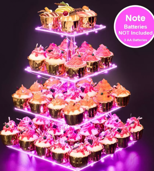 4 Tier Acrylic Square Cupcake Stand Dessert Tower